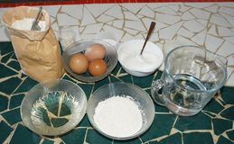 Ingredients for making bread Royalty Free Stock Photo