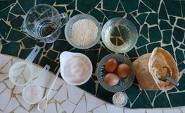 Ingredients for making bread stock photos