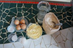 Ingredients for making bread Stock Photography