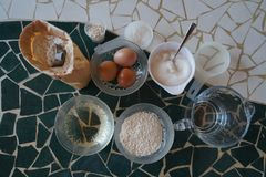 Ingredients for making bread stock photo
