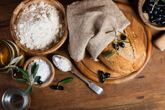 Ingredients for making bread with olives,  top view Royalty Free Stock Image