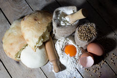Ingredients for Making Bread on Wooden Table, View From the Top Stock Photos