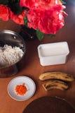 Ingredients for making cake, cooking banana cheesecake, stock photos