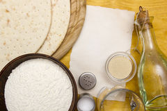 Ingredients for making cakes for pizza Royalty Free Stock Photo
