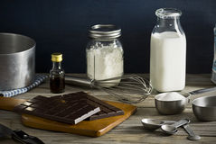 Ingredients for Making Chocolate Pudding Stock Photography