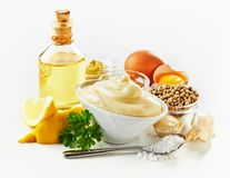 Ingredients for making creamy mayonnaise stock photo