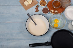 Ingredients for making the dough for pancakes Royalty Free Stock Photos