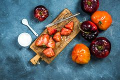 Ingredients for making fresh healthy tomatoes salad royalty free stock photography