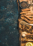 Ingredients for making gluhwein on wooden rustic board, copy space Royalty Free Stock Photo