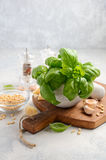 Ingredients for making green pesto sauce. Healthy Italian food. Royalty Free Stock Photo