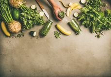 Ingredients for making green smoothie and female hands with bottle royalty free stock photos