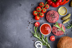 Ingredients for making hamburger Stock Photo