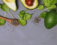 Ingredients for making healthy green smoothie or salad. Royalty Free Stock Photo