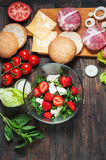 Ingredients for making homemade burger and salad with strawberries, tofu Stock Photo