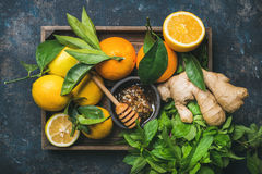 Ingredients for making immunity boosting natural hot drink in box Royalty Free Stock Photography