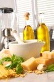 Ingredients for making italian pesto stock images