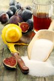 Ingredients for making jam of figs. Stock Photography