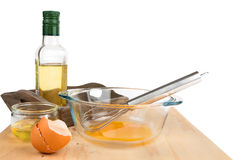Ingredients for making mayonnaise sauce Royalty Free Stock Image