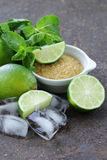 Ingredients for making mojito - lime, sugar, mint Royalty Free Stock Photography