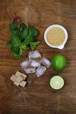Ingredients for making mojito - lime, sugar, mint Stock Photography