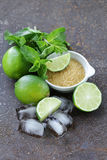 Ingredients for making mojito - lime, sugar, mint Royalty Free Stock Photo