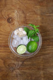 Ingredients for making mojito - lime, sugar, mint Royalty Free Stock Image