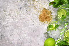 Ingredients for making mojito.Top view with space for text. Stock Photo