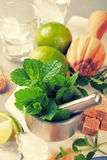 Ingredients for making mojitos Stock Photo