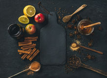 Ingredients for making mulled wine over blue painted plywood background Stock Images