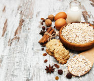 Ingredients for making oatmeal cookies Stock Photo