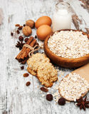 Ingredients for making oatmeal cookies Stock Images