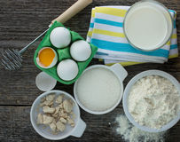 Ingredients for making pancakes Royalty Free Stock Photography