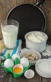 Ingredients for making pancakes Stock Image