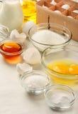 Ingredients for making pancakes Stock Photos