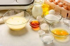 Ingredients for making pancakes Royalty Free Stock Images
