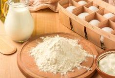 Ingredients for making pancakes Royalty Free Stock Photos