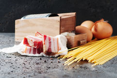 Ingredients for making pasta carbonara. Selective focus Stock Photos