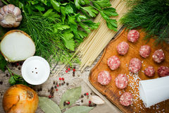 Ingredients for making pasta spaghetti with meatballs. Top view Royalty Free Stock Images