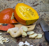 Ingredients for making pumpkin soup Royalty Free Stock Photo