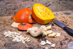 Ingredients for making pumpkin soup Stock Photography