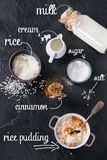 Ingredients for making rice pudding Royalty Free Stock Image