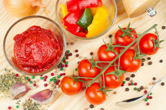 Ingredients for making tomato sauce Stock Photography