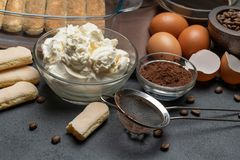 Ingredients for making traditional italian cake tiramisu on concrete table. Ingredients for making traditional italian cake tiramisu on concrete background or royalty free stock photo