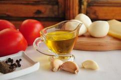 Ingredients for Marinara sauce on white background Stock Image