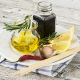 The ingredients for marinating meat before baking or grilled skewers  easy summer family picnic lunch. Olive oil Stock Image