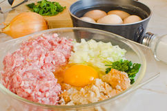 Ingredients for meatballs Royalty Free Stock Image