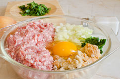 Ingredients for meatballs Stock Image