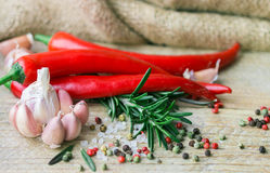 Ingredients of Mediterranean cuisine - garlic, pepper, rosemary and spices. On old wooden table Stock Images