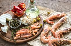 Ingredients for Mediterranean diet. On the wooden table Royalty Free Stock Image
