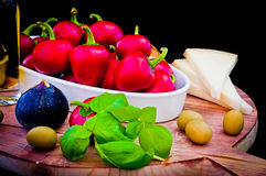 Ingredients for a Mediterranean sauce for pasta, bruschetta, sal Royalty Free Stock Photo